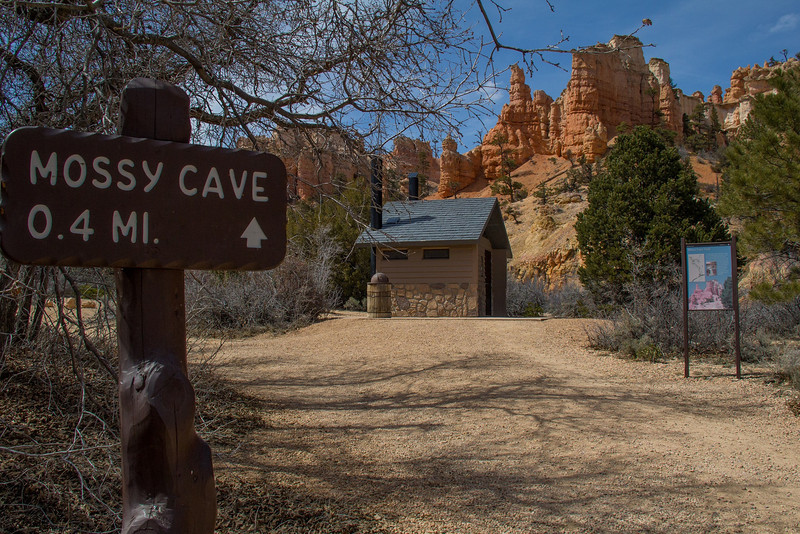 Outside Bryce Canyon's entrance and on the road to Tropic, Utah is this small cave with ice formations in winter.