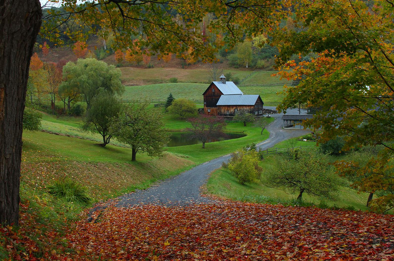 Sleepy Hollow Farm, Woodstock, Vermont. When this photo was taken in October 2010 the property was owned by Aerosmith guitarist Joe Perry. A very light rain provided the color enhancement and removed harsh shadows.