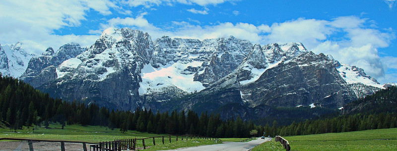 This photo was taken from the roadside in Lake Misurina, Italy, as we headed south onto SR 48 then west to Cortina, Italy about 10 miles away. Thanks to Sabino, our driver for super clean windows every day.