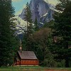Yosemite Chapel, Spring 1983. Kodachrome 25 slide film. This view is now blocked by a number of tall Pine trees that grew up next to the Church since the photo was taken.