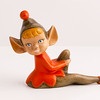 handmade sitting elf figurine in red and brown