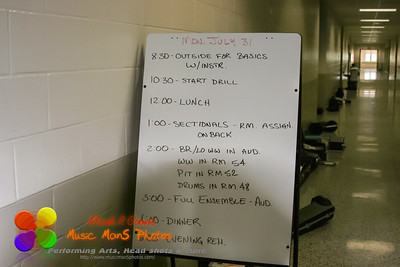 The first day of band camp schedule