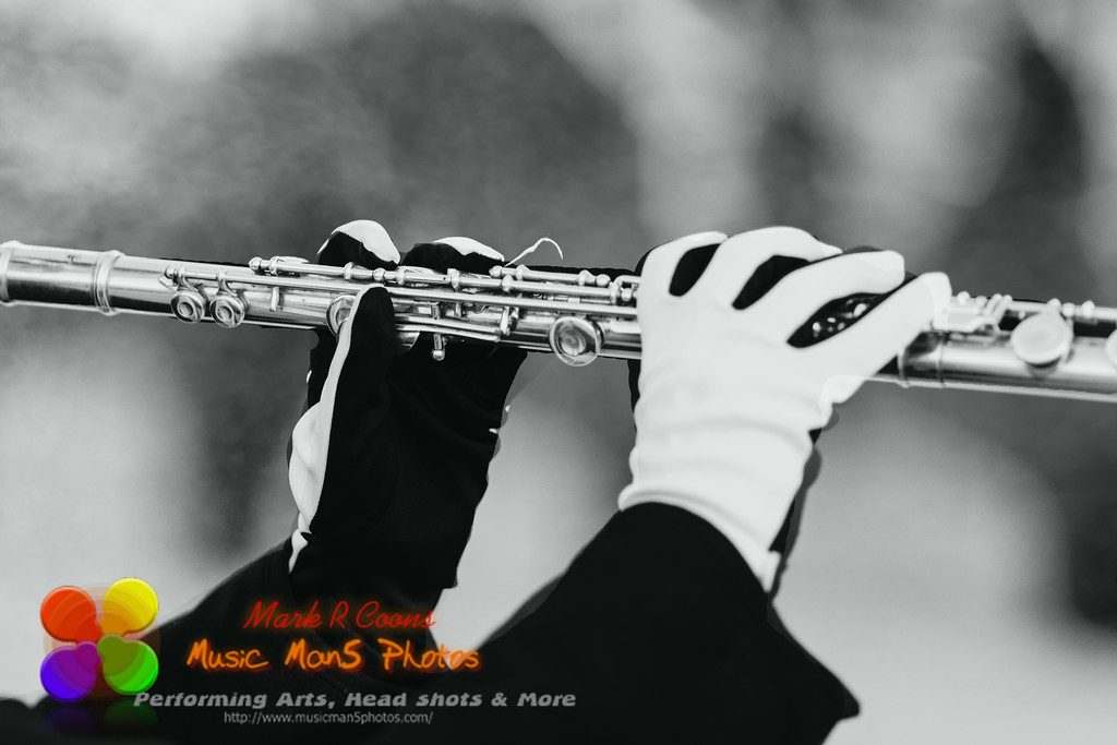 gloved hands of a flute player in a marching band