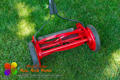 close up view of a reel lawnmower after the restoration process was completed