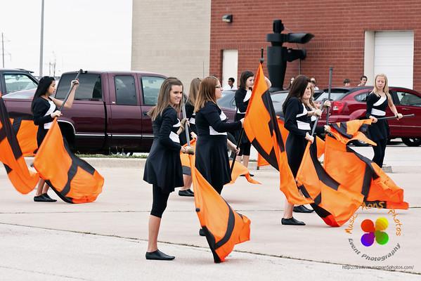 Color Guard warming up.
