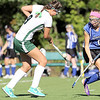 Oakmont Regional High School Field Hockey Team played Leominster High School at home on Tuesday afternoon. ORHS's Tara Harrington tries to control the ball as LHS's Jess Moran closes in to try and stop her. SENTINEL & ENTERPRISE/ JOHN LOVE