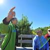 Joanne DiNardo, environmental inspector for Leominster, talks about Sholan Farms during a wagon tour around the farm with Mayor Dean Mazzarella and Secretary of Energy and Environmental Affairs Richard Sullivan, Monday.<br /> SENTINEL & ENTERPRISE / BRETT CRAWFORD