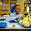 First Baptist Church member Gertrude Burnett, 86, of Leominster cuts up apples on Thursday as apple crisp is made at the church for The Johnny Appleseed Festival on Saturday.<br /> SENTINEL & ENTERPRISE / BRETT CRAWFORD