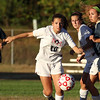 North Middlesex Regional High School girls soccer played Shrewsbury on Thursday afternoon. NMRHS's Ali Silver takes off after the ball during action in the game. SENTINEL & ENTERPRISE/ JOHN LOVE