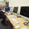 John R. Briggs Jr., 92, tries out a computer in the new computer lab at the John R. Briggs Elementary School,which is named for his father after the dedication ceremony on Friday morning. SENTINEL & ENTERPRISE/ JOHN LOVE