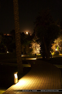 Walk-way at night at the Rodos Palace Hotel.