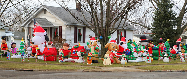 Santa should have no trouble finding his way to the ultimate Christmas inflatable display at 134 Frankiln Ave. in Elyria. BRUCE BISHOP/CHRONICLE