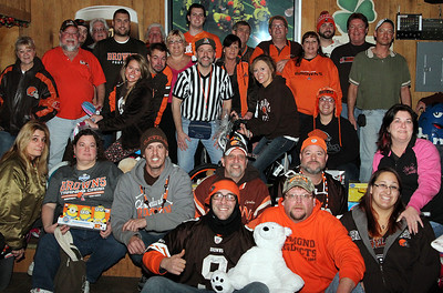 The Elyria Browns Backers Chapter 335 collected toys during the Cleveland Browns and New England Patriots game Sunday afternoon at The Train Station on East River Street in Elyria. The toys will be donated The Chronicle-Telegram's Not Forgotten Box. ANNA NORRIS/CHRONICLE