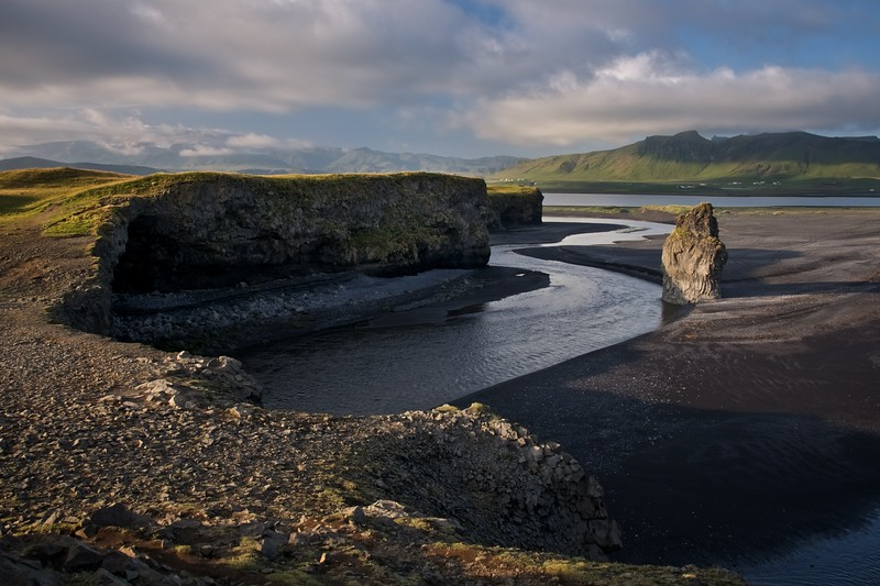 """Photo 2: Dyrhólaey, Iceland<br /> August 2011<br /> 10x15"""" print, matted on white mat board in a 14x18"""" frame.  Starting bid $50."""