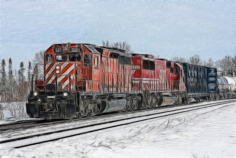 CP 5611 and SOO 6050 traveling west at Eagle River, Ontario. I'm not really sure about the sub division, but this was taken at mp 79.80.<br /> <br /> I used the Fractalus plugin to get this effect. I used the Crayon Soft option to turn it into an artistic rendition. I also applied the plug in using a layer, so I could delete the effect in areas such as the number boards, and the sides of the locomotive so the railroad name would show. When I choose the eraser tool, I lowered the opacity so I wouldn't remove all of the effect.