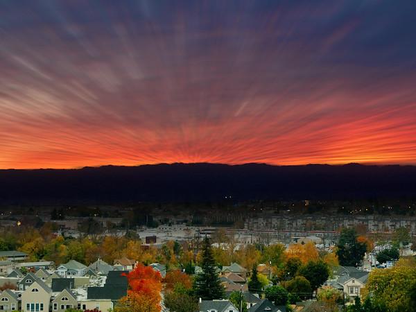 Sunset over south San Jose