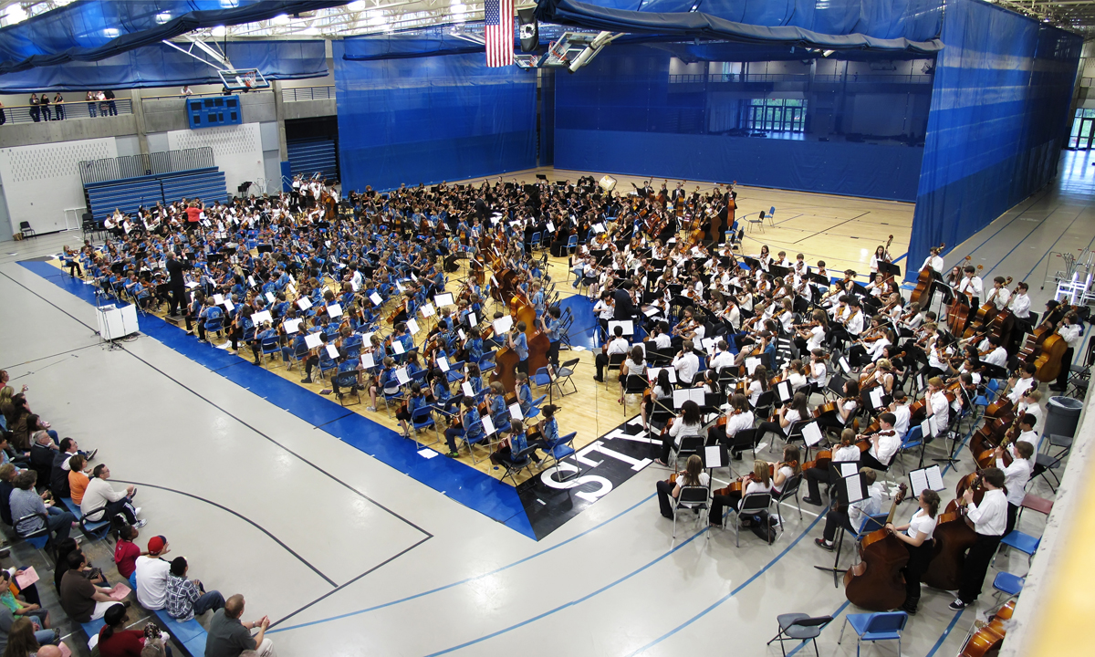 """The Hopkins all school orchestra preforming """"Ode to Joy""""..."""