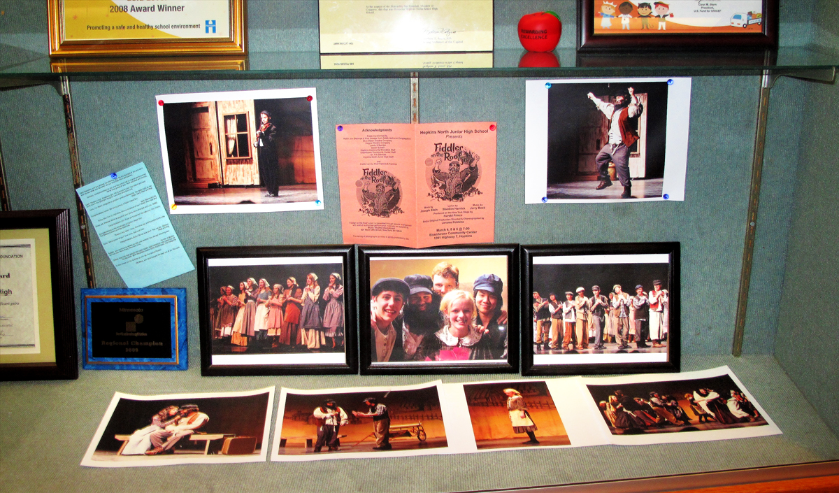 JW's photos in the North Junior High display case!