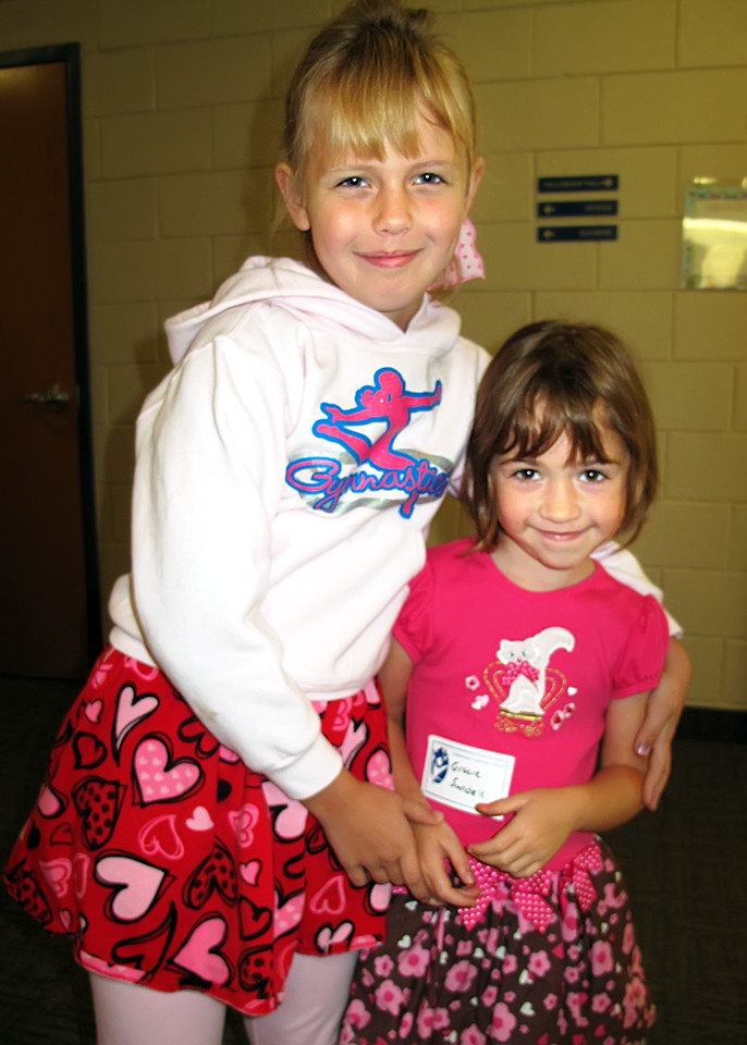 Anna and Gracie on their way to Sunday School...