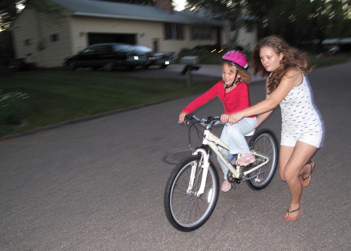 Anna rides a bike!