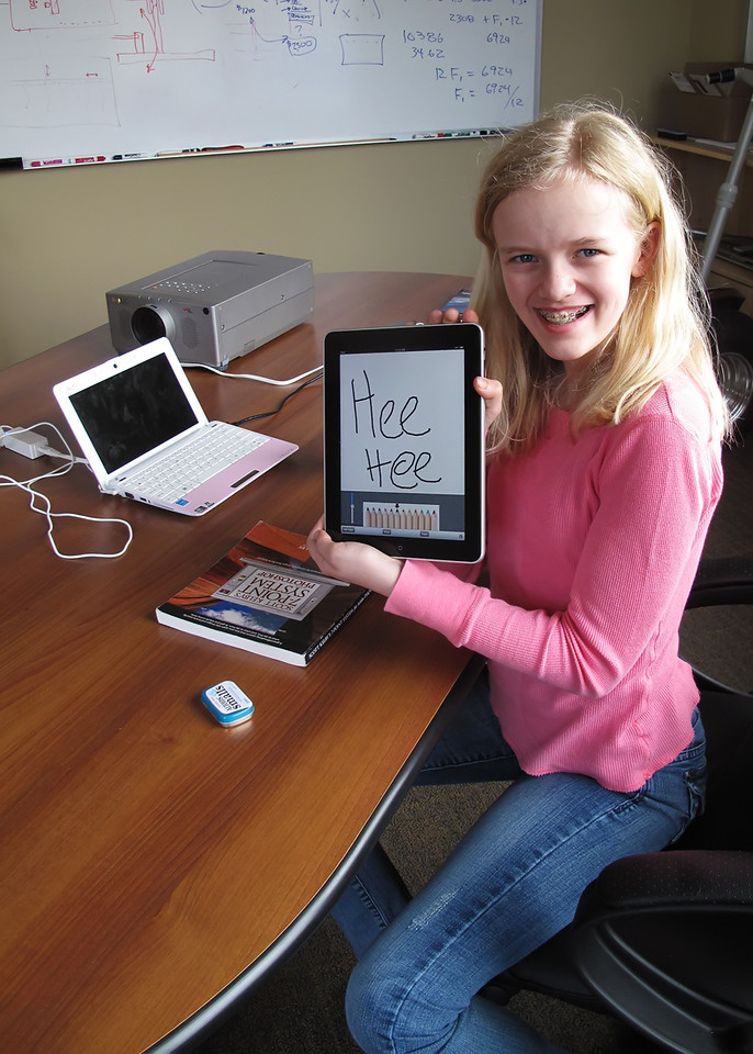Helen with her new iPad...