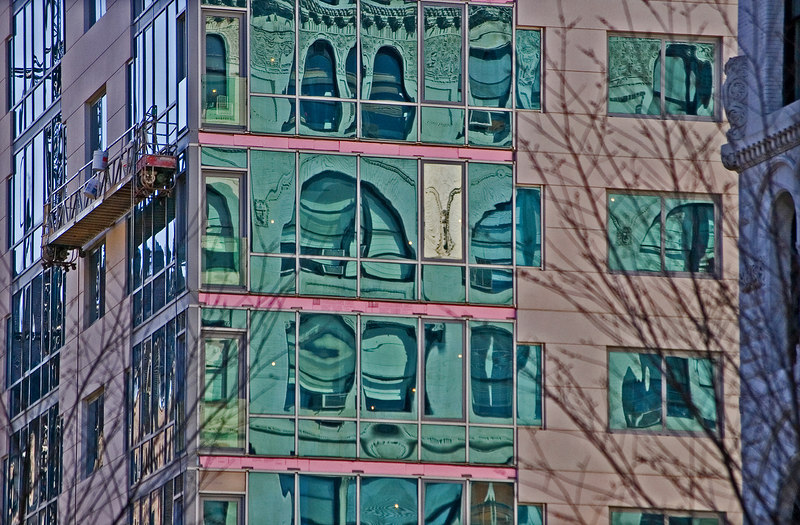 Some interesting reflections in building windows on 14th St. NYC right across from Union Square.