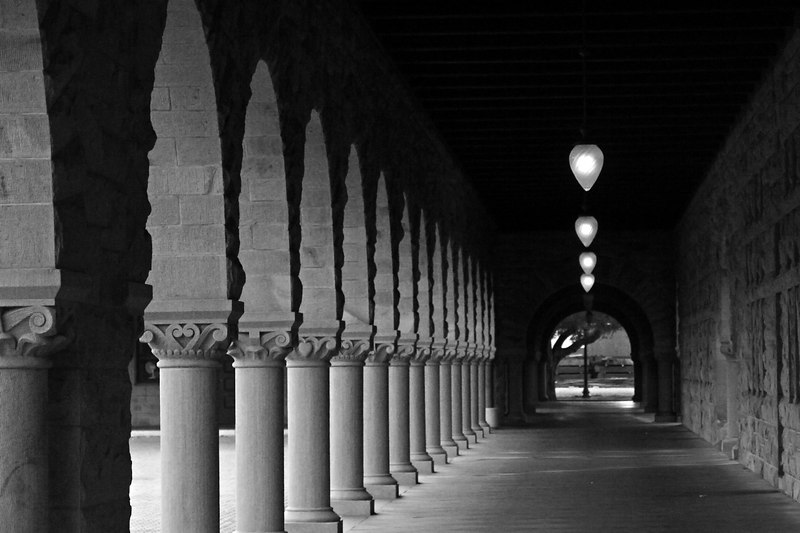 April.21,2006  <U>A lonely corridor.</U>   In one of the Stanford university buildings. I wish someone was standing at the far end of the corridor - to give a subject to the picture.