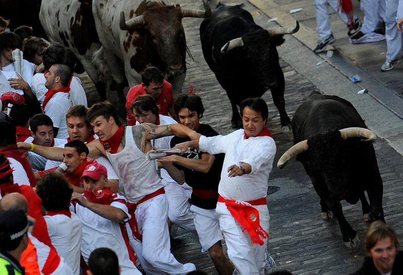 Runners are chased by Alcurrucen fighting bulls on the first day of the running of the bulls at the San Fermin festival in Pamplona July 7, 2009. Six bulls are released every morning at 8:00 through the cobbled streets of Pamplona to the bullring, where they will be killed in a bullfight in the afternoon. REUTERS/Eloy Alonso (SPAIN SOCIETY IMAGES OF THE DAY)
