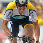 Astana rider Lance Armstrong of the U.S. cycles to the finish line during the individual time trial in the first stage of the 96th Tour de France cycling race in Monaco, July 4, 2009.  REUTERS/Charles Platiau  (MONACO SPORT CYCLING)
