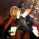 Lady Gaga performs as pyrotechnics go off from her bustier during the 2009 MuchMusic Video Awards in Toronto June 21, 2009. REUTERS/Mark Blinch  (I bought this image from Reuters and have permisson to display it.)