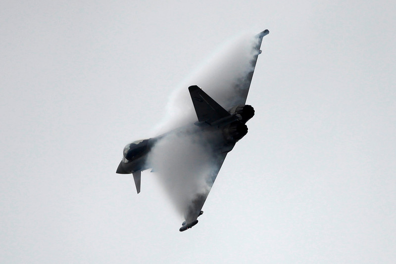 A Eurofighter Typhoon jet takes part in a flying display during the 48th Paris Air Show at the Le Bourget airport near Paris, June 18, 2009. REUTERS/Pascal Rossignol (I bought this image from Reuters and have permission to display it.)