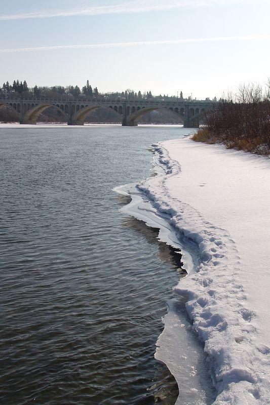 South Saskatchewan River, University bridge, taken from the boat dock near the Mendel Art Gallery.