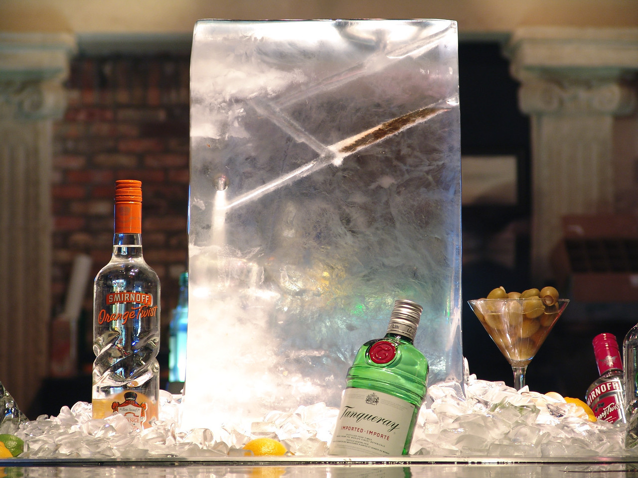Earls lounge where they feature an ice block they pour martinis through.