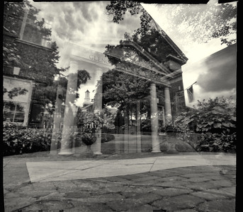Accidental double exposure: Glencoe (IL) Public Libray & City Hall