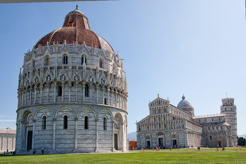 Battistero (Baptistry) foreground, Cathedral, Tower - on the Campo dei Miracoli