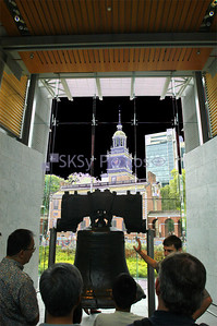 Liberty Bell in front of solarized Independence Hall, Philadelphia