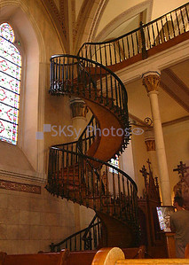 The 'Miraculous' unsupported staircase in the Loretto Chapel, Santa Fe, New Mexico