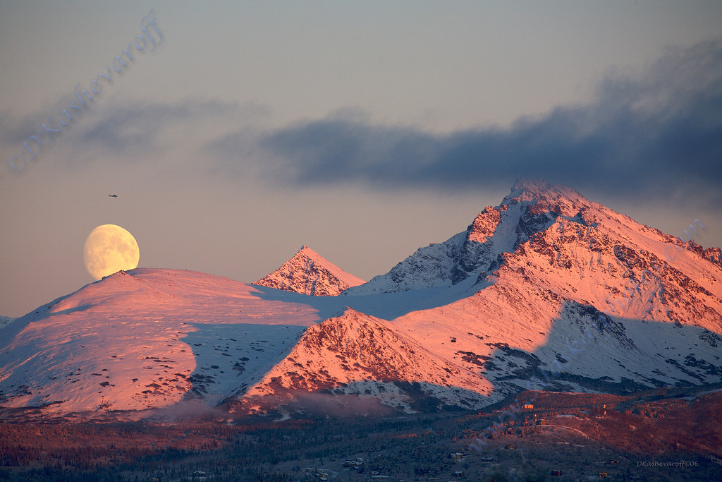 Moon over the Chugach Mountains in Anchorage
