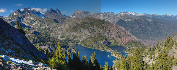 Spectacle Lake with Mt Lemah, Summit Chief, Bears Breast Mtn and Mt. Daniel in distance