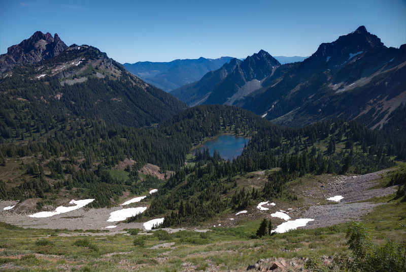 One of Park Lakes with Three Queens on left Box Ridge on right
