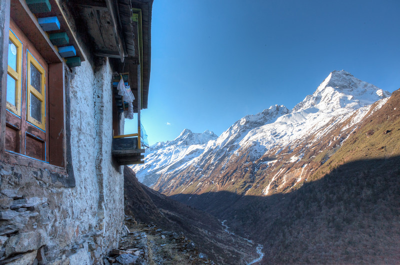 Beding Gompa<br /> Mountainside monastery looking up Rolwaling Valley