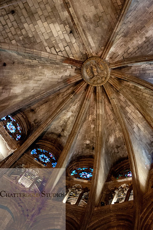 Decorative Ceilings and Stained Glass Windows, The Cathedral of Barcelona