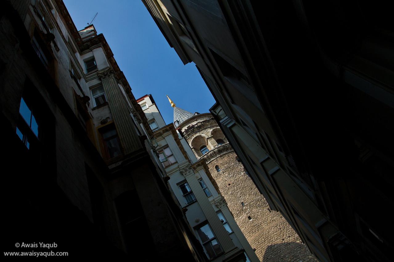 Galata tower from narrow street