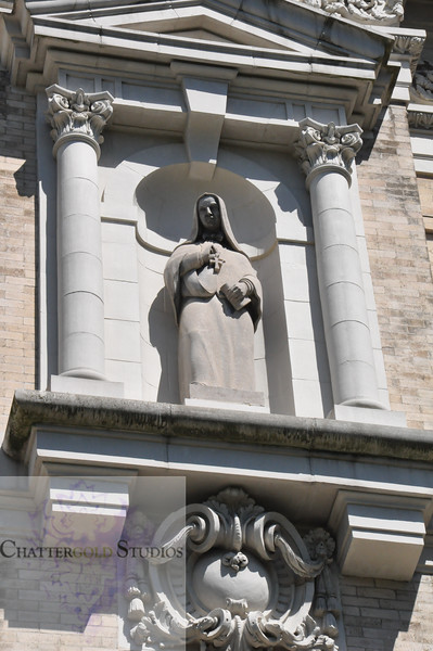 Statue of Mary at St. James Cathedral in Seattle, Washington
