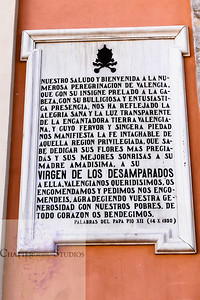 Basilica de la Virgen de los Desamparados Entrance Sign
