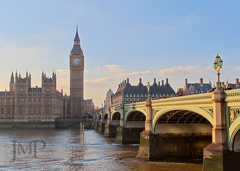 Big Ben and the Bridge - A blended photo of the bridge and tower, looking back towards the setting sun.