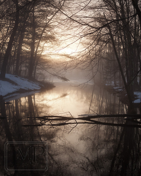 Evening Fog on the Creek - Sunset through the fog over a creek in Westford, MA.