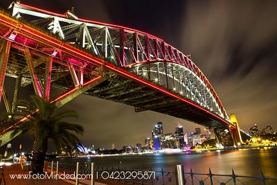 Lit up Harbour Bridge during Vivid Sydney