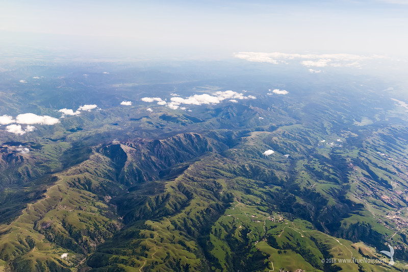 Mountain range on the edge of California, aerial photography