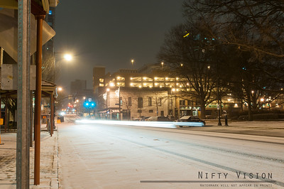 Downtown Raleigh on a snowy January night